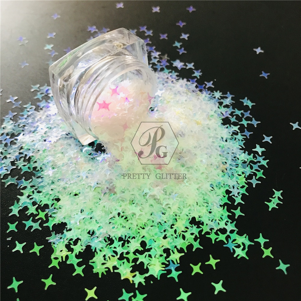 PrettyG 10g-200g 4MM Four Angle Stars Shape Colorful Pearl Iridescent Speciality Glitter Sequins for