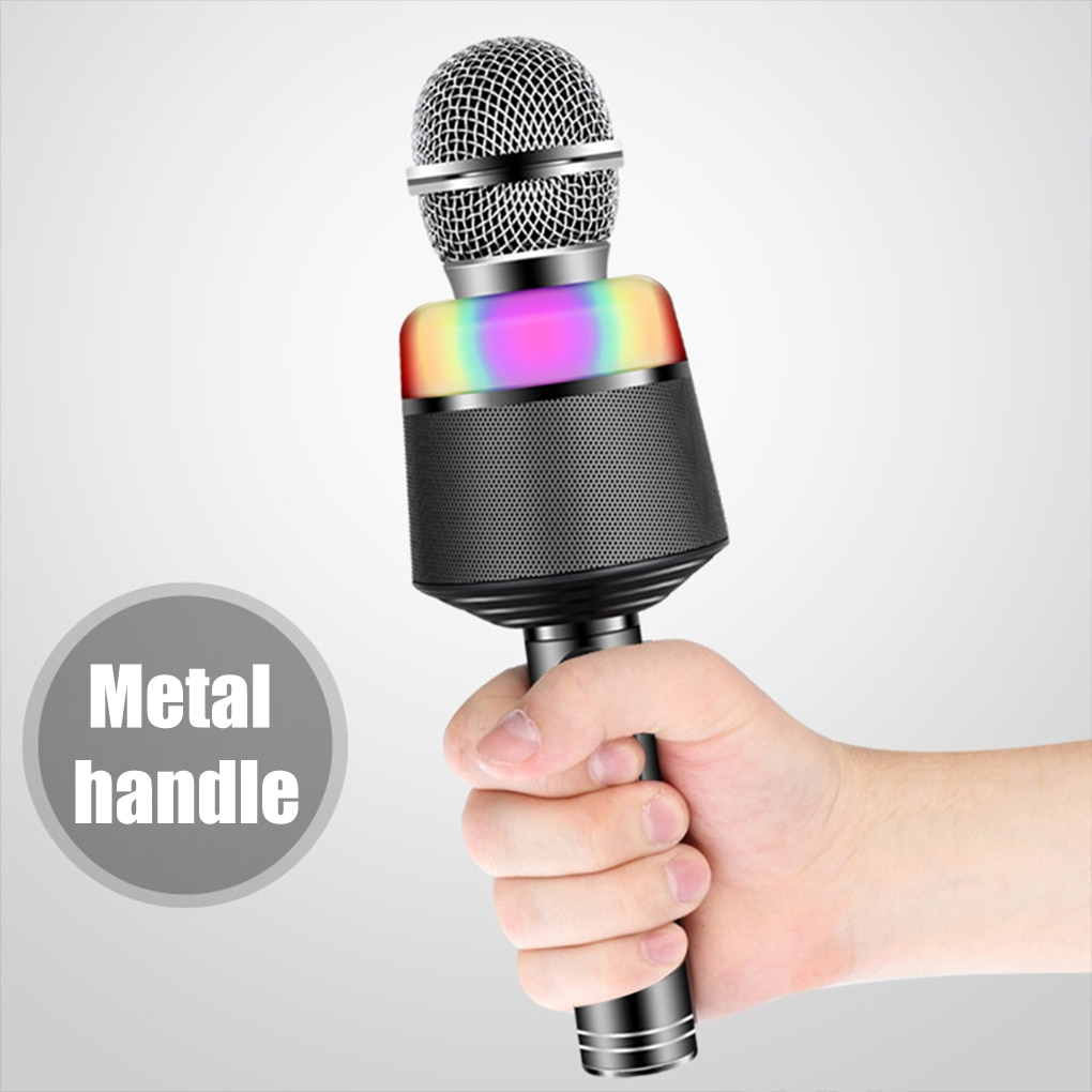 Bluetooth V5.0 Karaoke Microphone Wireless Handheld Microphone Portable Speaker Home KTV Player LED Lights Singing Recorder Mic enlarge