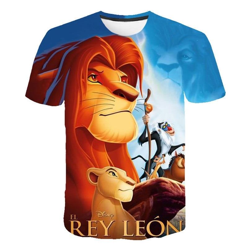 León rey Simba y su padre 3D impreso niños dibujos animados película verano manga corta Camiseta ropa nueva niños camisetas