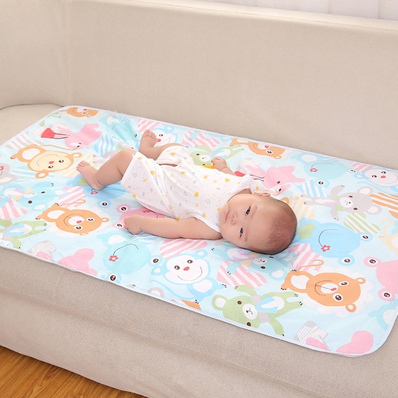 Baby Waterproof Urine Pad Infant Newborn Changing Mat Washable Toddler Kids Cartoon Cloth Diapers Reusable Breathable Mattress