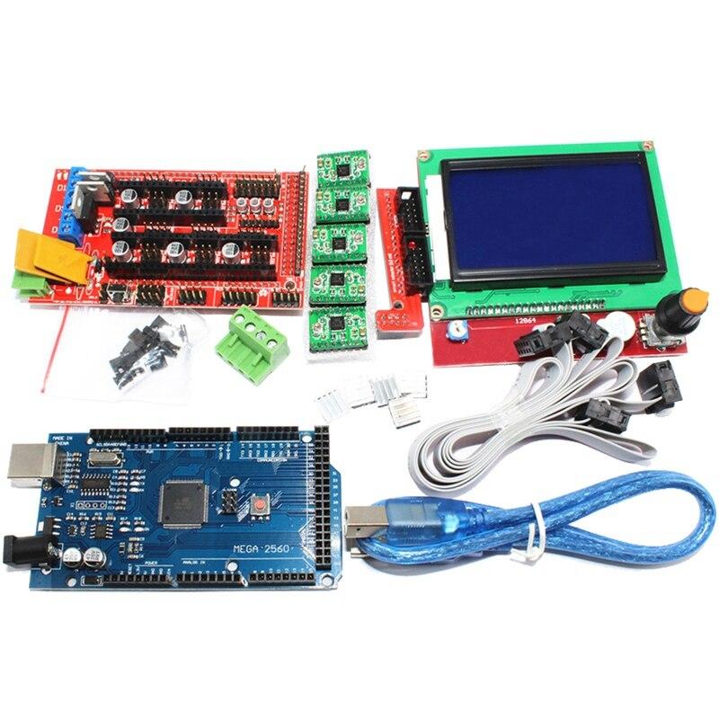 1 قطعة ميجا 2560 R3 Ch340 + 1 قطعة Ramps 1.4 المراقب + 5 قطعة A4988 السائر نموذج مشغل + 1 قطعة 12864 تحكم ل 3D مجموعة الطابعة