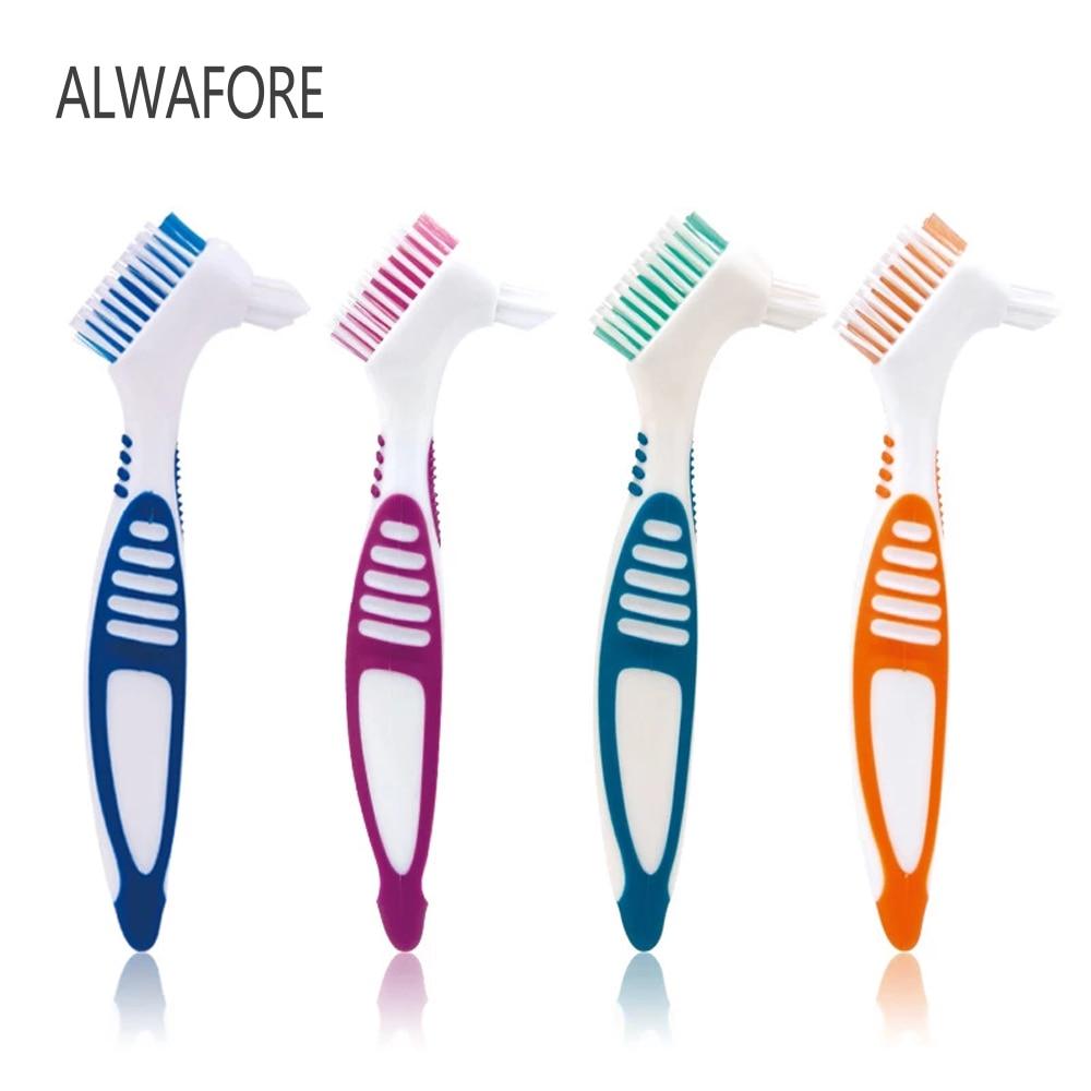 1 PC Denture Cleaning Brush Multi-Layered Bristles False Teeth Brush Oral Care Tool Bristles & Ergonomic Rubber Handle brush scraper avs wb 6328 52 cm soft handle распушенная bristles 2 surface