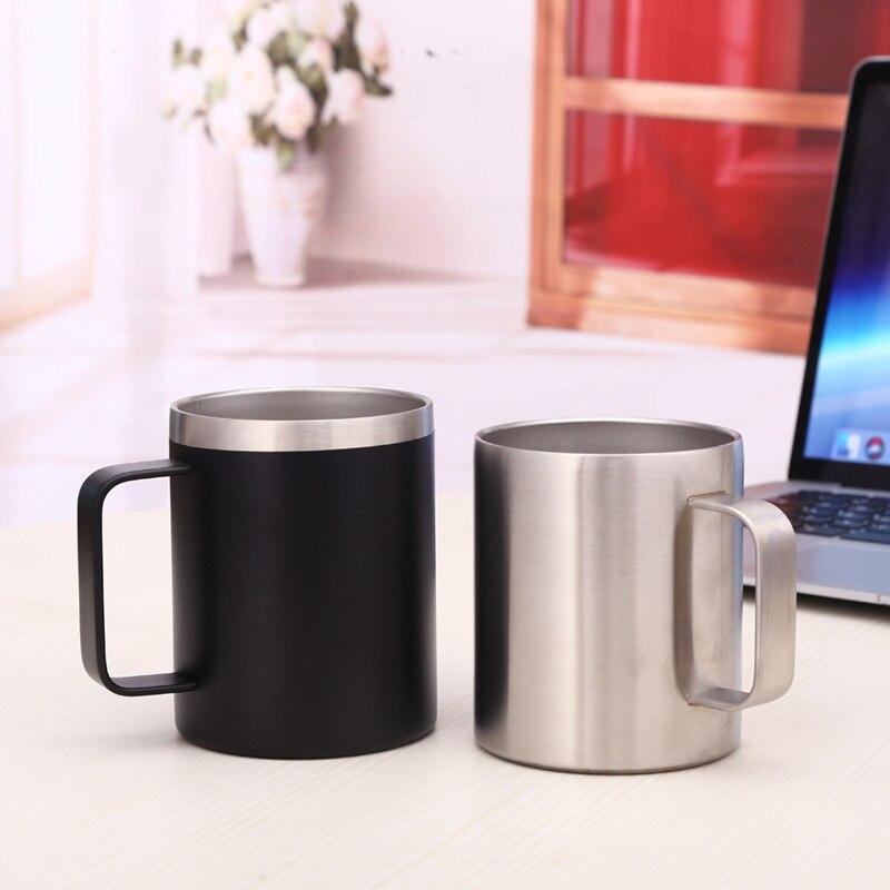 Taza de café de 12oz con asa, tazas termos de acero inoxidable, termo de oficina al vacío, termo portátil para el hogar, taza de té con cubierta a prueba de fugas