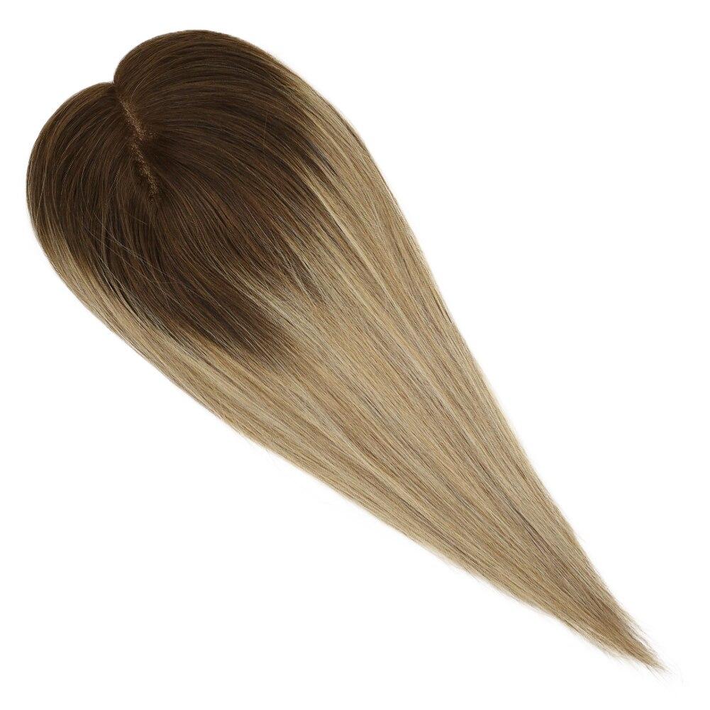 Ugeat cabelo humano topper mono base 5*5 Polegada balayage cor 3 desvanecimento para 8 e 22 loira coroa cabelo wiglets sedoso em linha reta