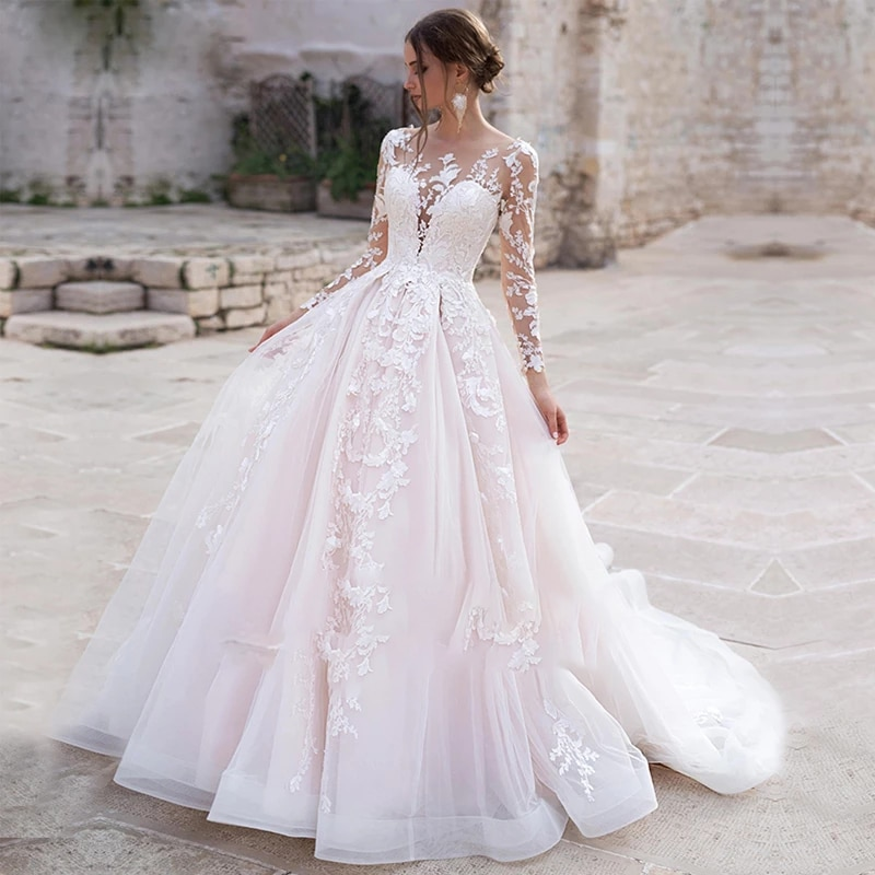 Review Vintage Wedding Dress Lace Appliques With Ball Gown O-neck  Sleeve Bride Gowns Button Draped With Custom Made Vestido de novia