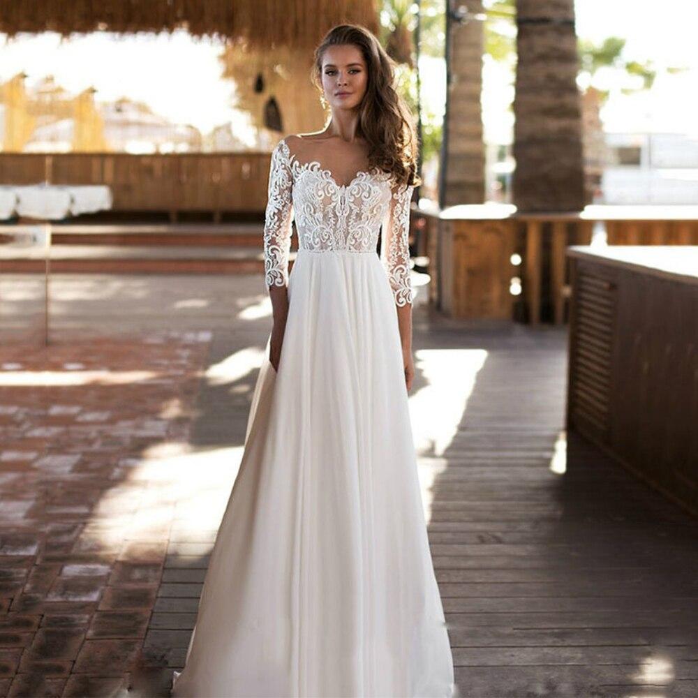Review Simple Chiffon Bohemian Wedding Dress For Bride 3/4 Sleeves Foor Length Sweetheart Neck Bridal Gown A Line 2021 Vestidos Novia