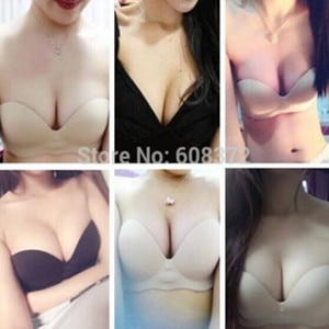 2015 seamless nude bra Black/Skin Reusable Lycra Nude Strapless Bra Backless Invisible Bra Cup A B C D