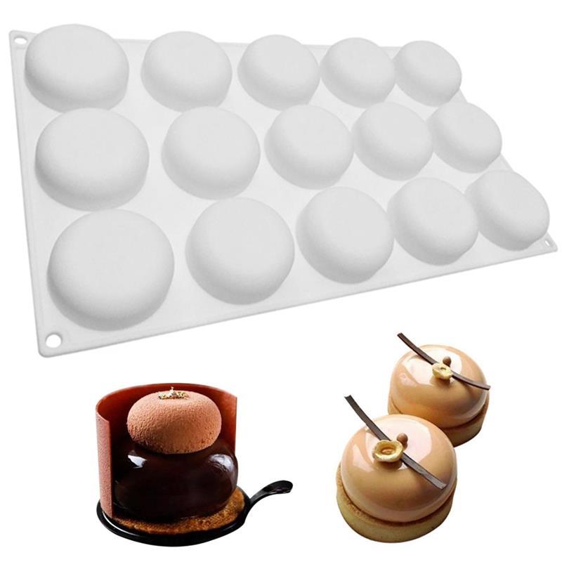 1 PCS Semi Sphere Silicone Mold DIY 15 Holes Cake Decorating Mold Fondant Chocolat Patisserie Baking Tool Mousse Cake Mould