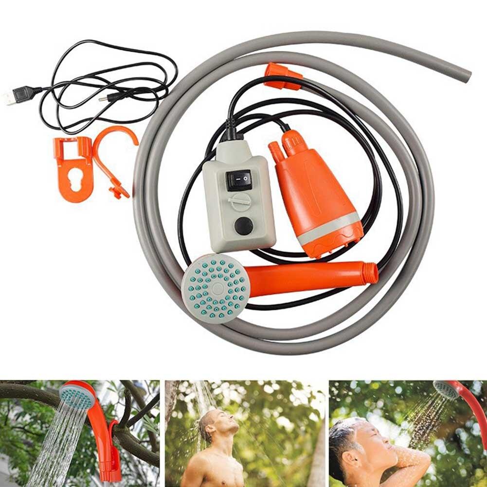 Bombas de boquilla de Camping en forma de cubo, conjunto de ducha portátil de mano para exteriores con USB ABS compacto, funciona con batería para coche