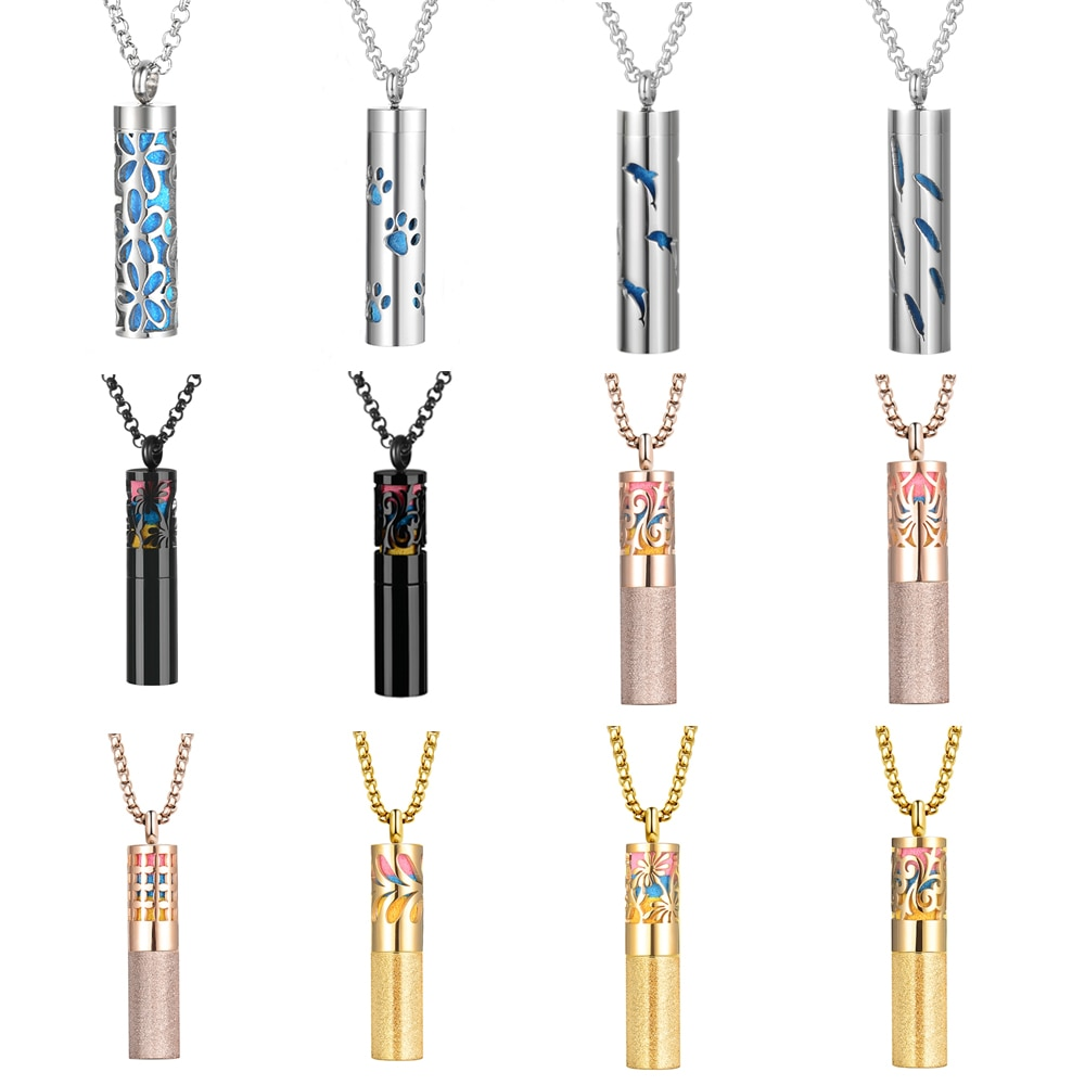 aliexpress.com - Chain Necklace Stainless Steel Oil Diffuser Locket Couple Pendant Necklace Perfume Bottle Women  Jewelry with 25pcs Felt Pads