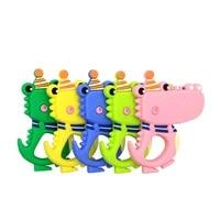 1pc silicone teether colorful cartoon animal crocodile reptile teeth necklace food grade baby chew toy bpa free