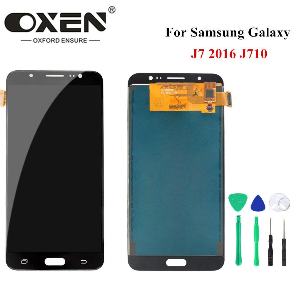 OXEN pantalla LCD para Samsung Galaxy J7 2016 j710 LCD MONTAJE DE digitalizador con pantalla táctil J710F J710FN J710M de 100% prueba