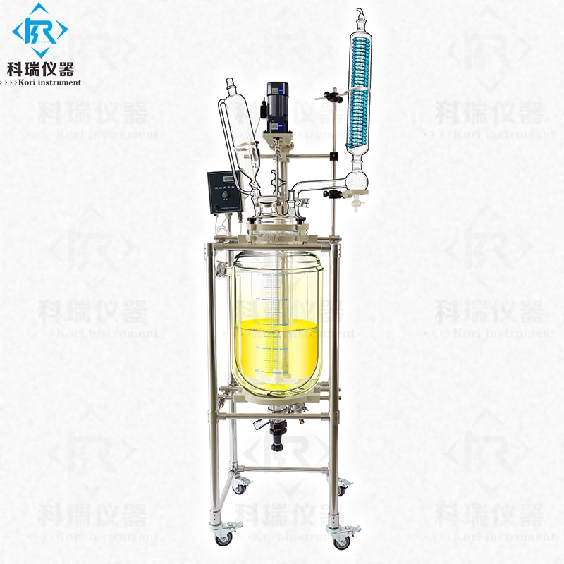 Reactor químico revestido de vidrio de doble cubierta de laboratorio de borosilicato 10l GG3.3
