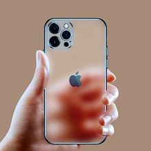 Luxury Plating Square Frame Matte Soft Silicone Case for iPhone 13 12 11 Pro Max Mini XR X XS 7 8 Pl