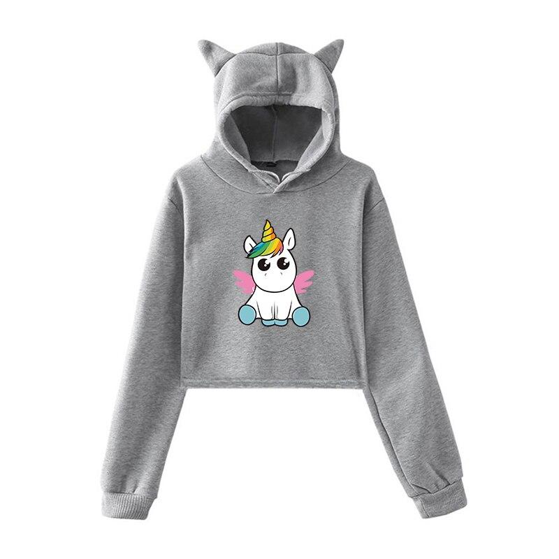 Cartoon Unicorn Women Sweatshirts Cute Cat Ear Hoodie Korean Female Hooded 2020 Long Sleeve PulloversWarm Oversized Hoodies