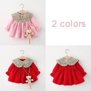 2021 Новинка весны, воротник с цветочным узором, платье с длинными рукавами детское платье в стиле Корейская принцесса Стиль маленькое свежее платье (Бесплатные аксессуары в виде мишки) Красный XL-12