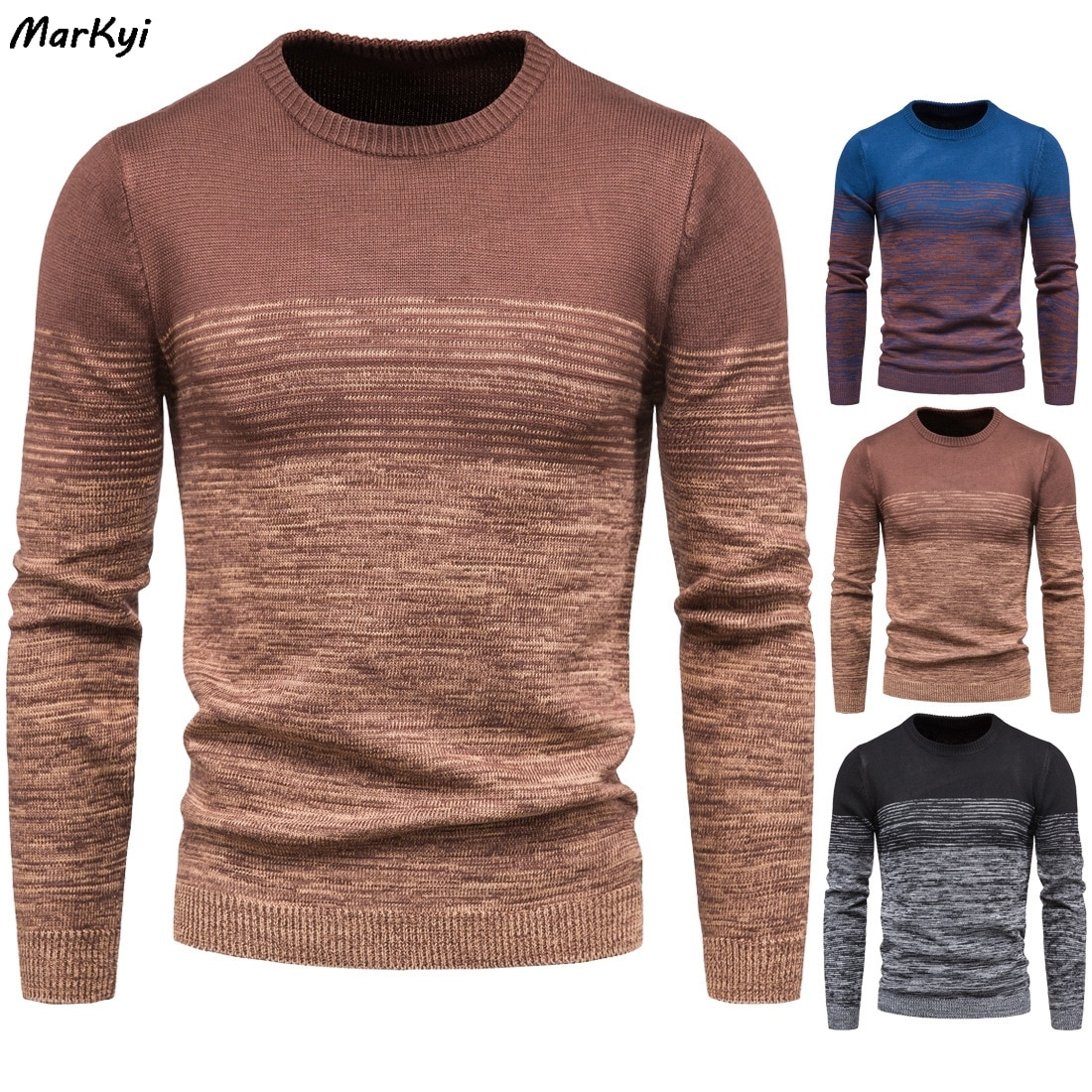 MarKyi 2020 invierno Color Jersey parcheado hombres moda rayas Casual Pull Homme manga larga