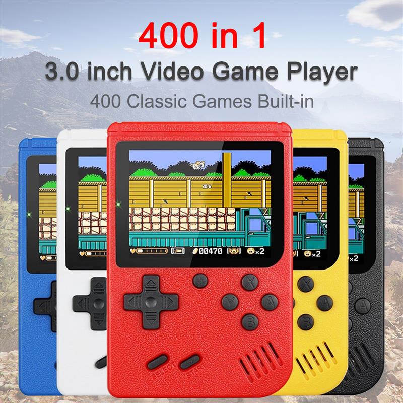 Built-in 400 Games Portable 3 Inches LCD Retro Mini Handheld Video Game Console 8-Bit Mini Pocket Gamepad Kids Gift Game Player