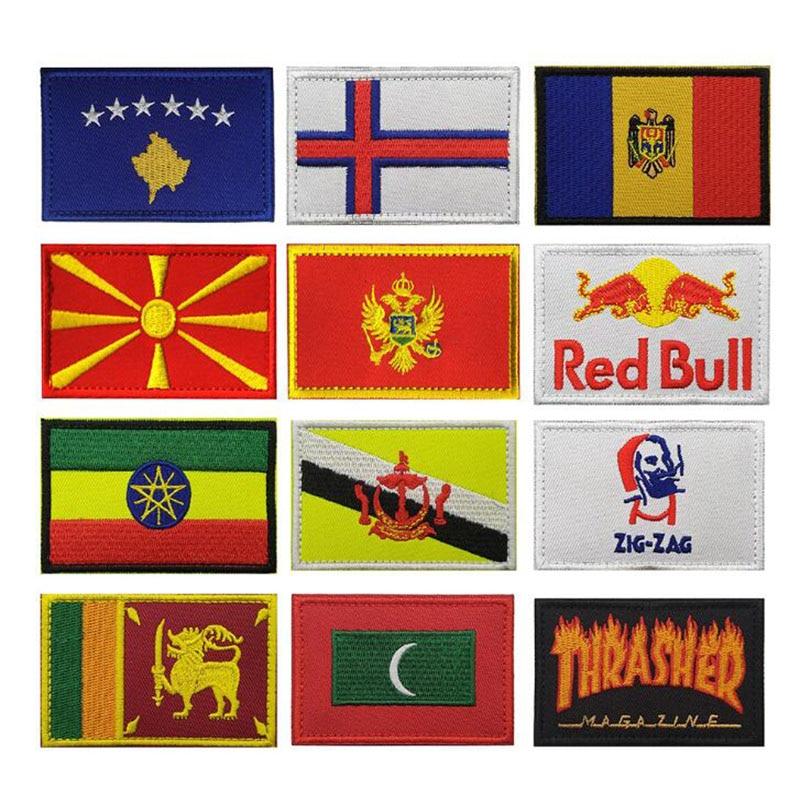 3D Вышивка Европа Африка Эфиопия Молдавия Шри-Ланка Maldives Montenegro Флаг значок джинсовая куртка одежда шляпа нашивка на нарукавную повязку