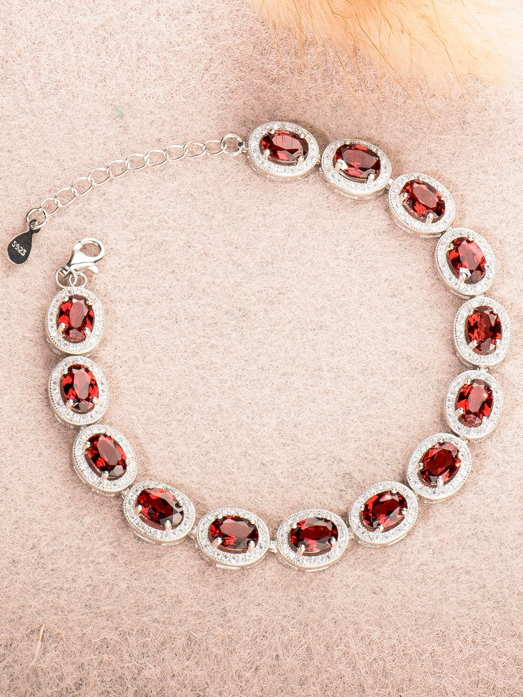 Get natural Garnet,red gem,925 sterling silver bracelet for women,uxury Jewelry 2020,christmas Halloween,female accessories