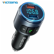 VicTsing yükseltilmiş V5.0 Bluetooth FM verici radyo adaptörü araç Handsfree çağrı 2 USB Ports & QC3.0 hızlı şarj FM verici