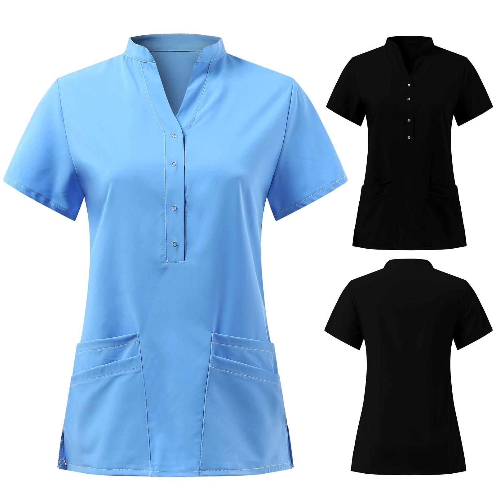 Uniforme médico Sexy para mujer, camisa de manga corta con cuello en V y botones, uniforme de trabajo para enfermería, moda de verano, 2021