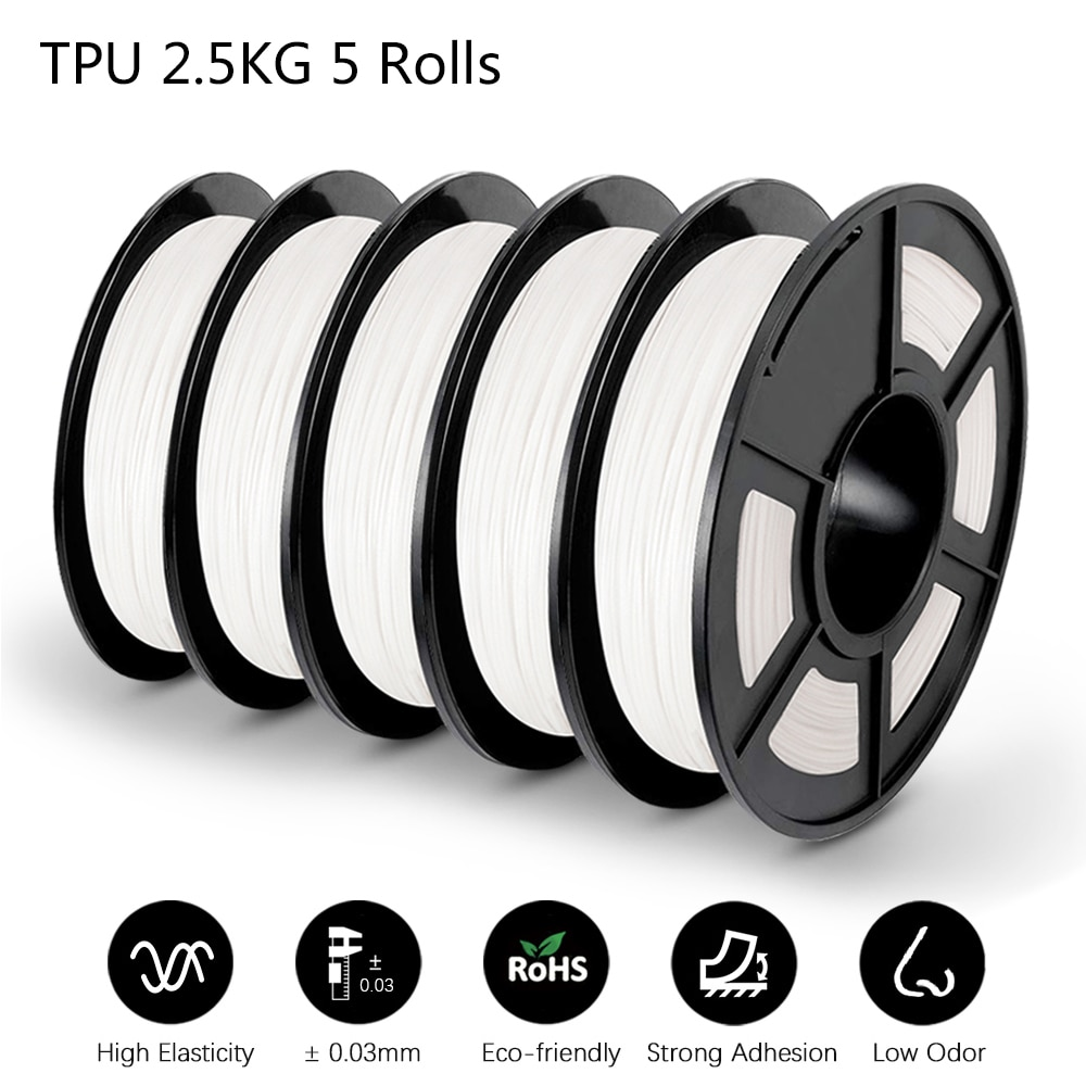 GOHIGH 5 Rolls 2.5 KG TPU 3D Printing Materials Good Aging Resistance Non-toxic For All Types of FDM3D Printers