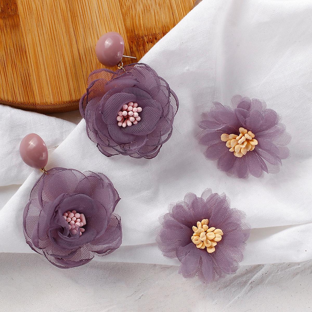 Женские шифоновые серьги AMORCOME, фиолетовые серьги-капли с лепестками цветов, корейские вечерние ювелирные изделия, подарки для девочек, 2020