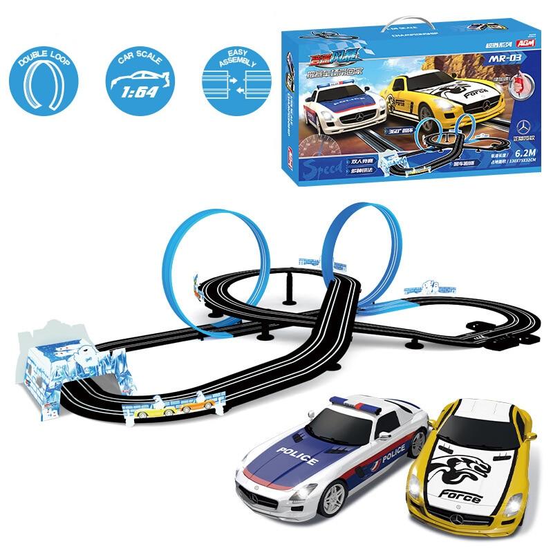 Pista de carreras de coches eléctricos de doble Control, pista de carreras...