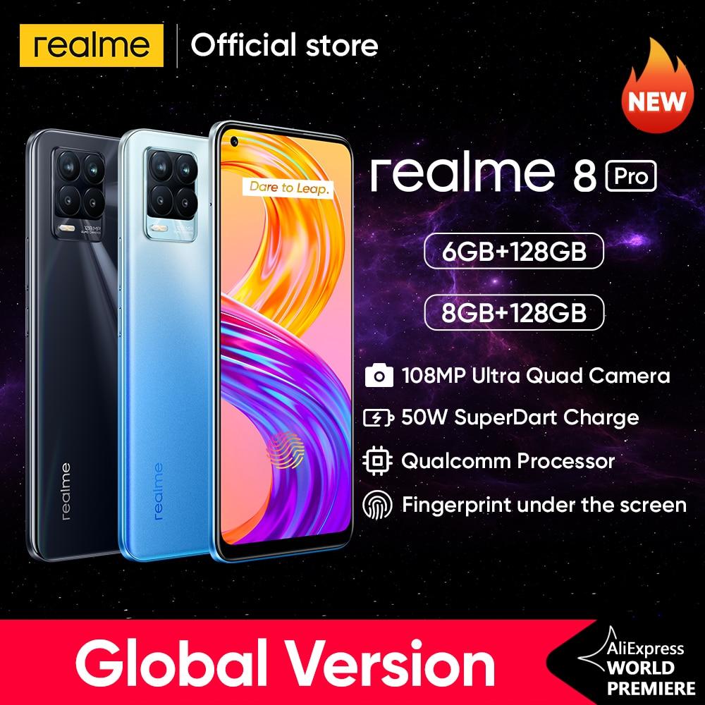 [Мировая премьера в наличии] realme 8 Pro 108MP Камера глобальная версия Snapdragon 720G смартфон 6,4 дюйм amoled 50 Вт Супер Дротика заряда