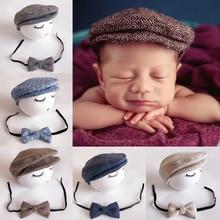 Ensemble chapeau et nœud papillon pour enfants   Adorable casquette plate bébé Tweed garçon, accessoires Photo, casquette BM88
