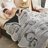 flannel blankets in winter thick double layer solid color blanket cartoon winter soft warm coral fleece blanket bedding