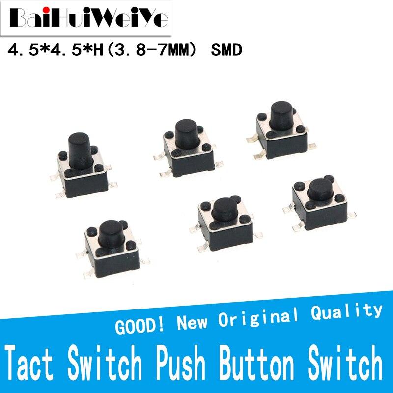 50 шт./лот 4,5*4,5 мм тактовый переключатель кнопочный переключатель медь 4PIN SMD Микропереключатель для ТВ/домашнего использования Кнопка 4.5x4.5x3.8/...