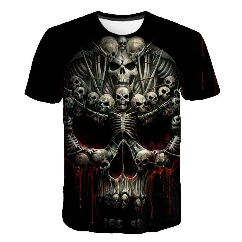 Camiseta de marca de verano para hombre, camiseta Harajuku de manga corta de metal pesado, camiseta informal con calavera 3D para hombre