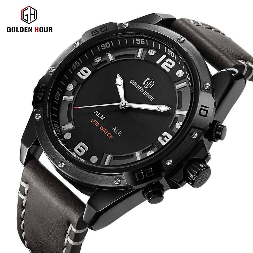 GOLDEN HOUR Dual Display Analog Digital Waterproof Quartz Wristwatch Men's watches  men's digital sports watch becca golden hour