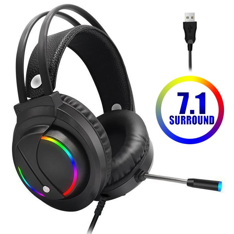 سماعات الألعاب 7.1 الظاهري سماعة رأس سلكية 4D ستيريو RGB ضوء لعبة سماعات مع ميكروفون ل Xbox One الكمبيوتر PS4 Gamer