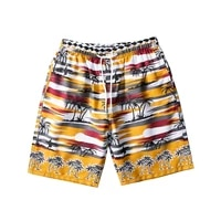 2021wholesale loose men fashion summer palm tree nylon polyster printed plaid beach biker shorts
