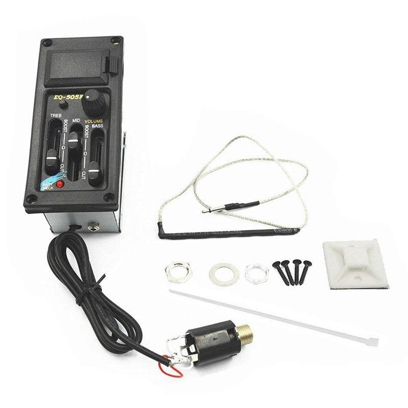 EQ-505R Violão 3 Banda Preamp Amplificador Equalizador Captador Piezo