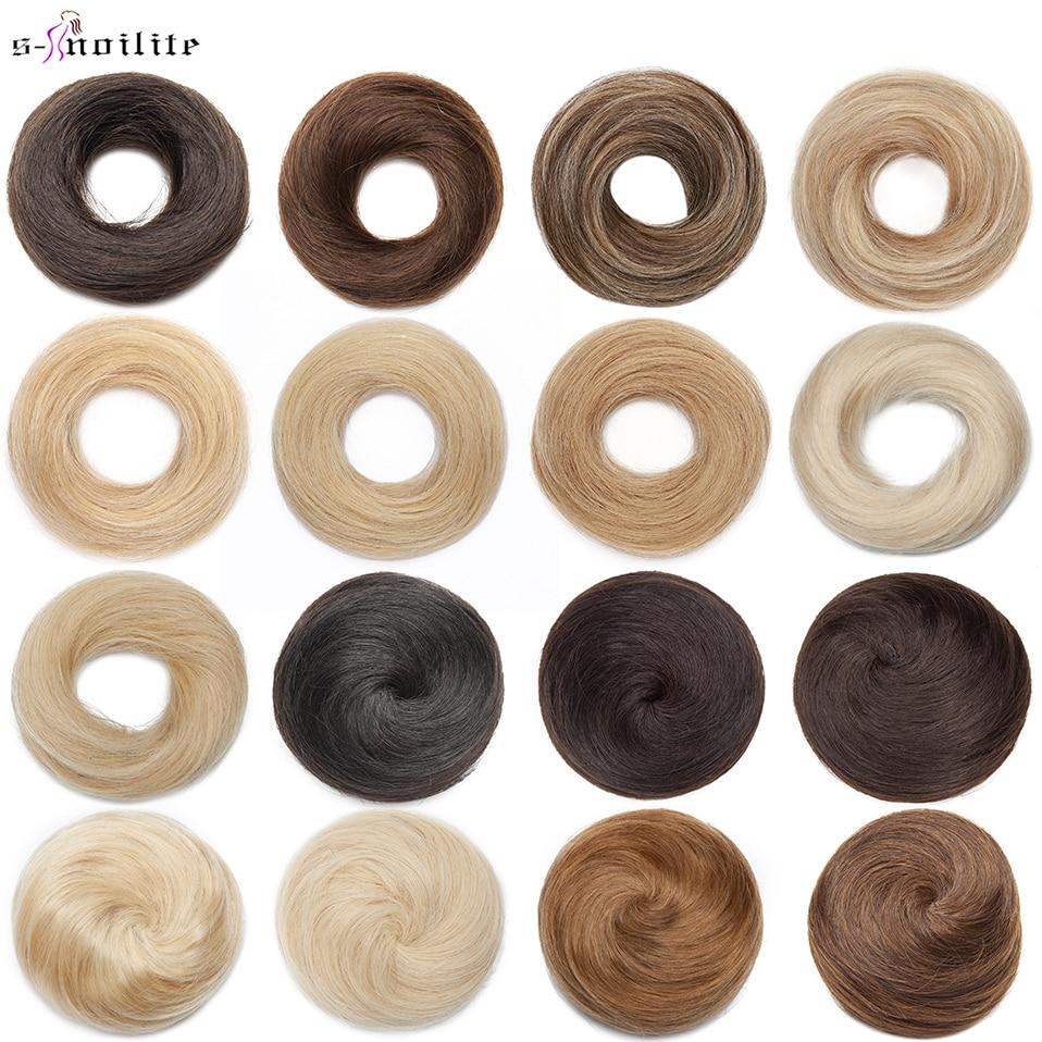 S-noilite 23-30g Hair Bun Donut Chignon Hairband Hairpiece Elastic Rubber Band Wraps Blonde Human Hair Women Scrunchie Extension