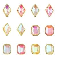 50pcspack nail art rhinestone rectangle rhombus crystal shiny 3d strass gem stone glow in the dark manicure charms rhinestone