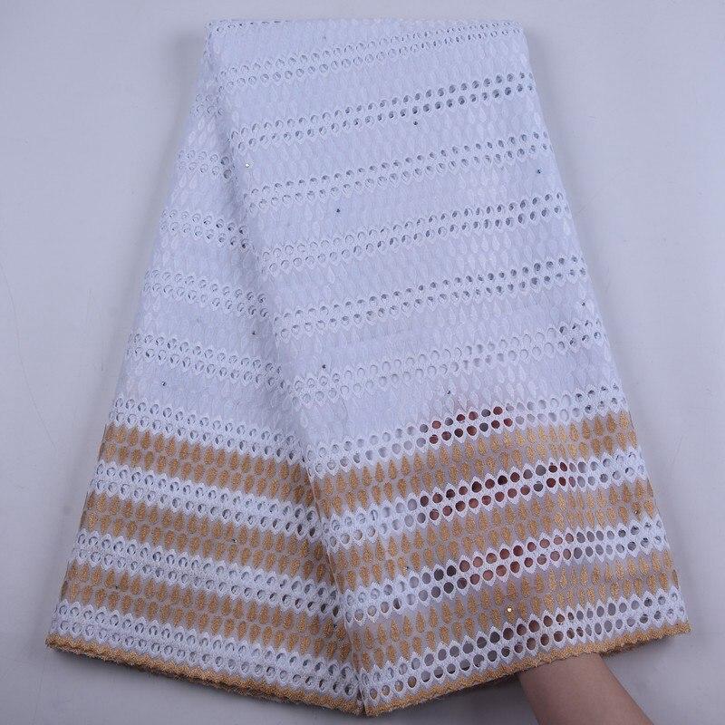 ¡Novedad de 2020! Tejido de encaje africano en oro blanco con agujeros de ojal, encaje suizo de gasa de algodón seco en Suiza para vestido nigeriano S1894