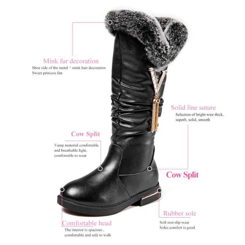Metal Fringe Long Boots Princess Girls Genuine Leather Boots Elegant Plush Warm Flat Dress Dance Shoes Christmas Snowshoes 27-37 enlarge
