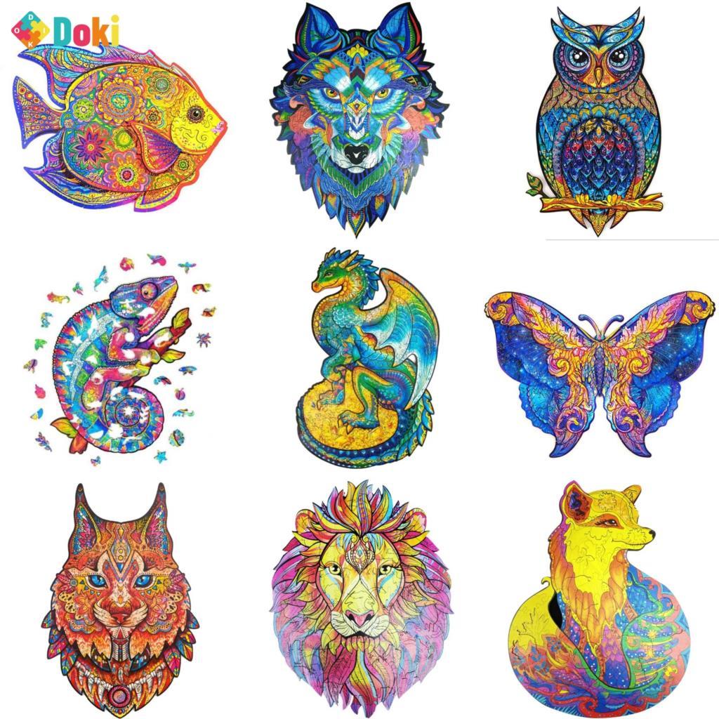 دوكي لعبة خشبية لغز الحيوانات الثعلب القط الأسد الذئب لغز لعبة كل قطعة هو الكرتون الحيوان خشبية بازل قطع للكبار الاطفال