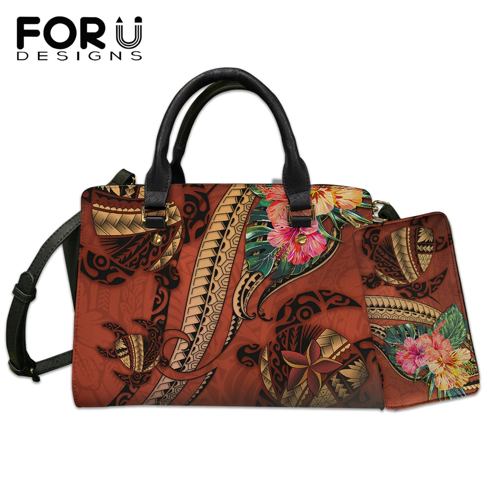 FORUDESIGNS Brand Design Luxury Hand Bags Woman Polynesian Turtle Tribal Tattoo With Hibiscus Large Shoulder Bolsa Mujer