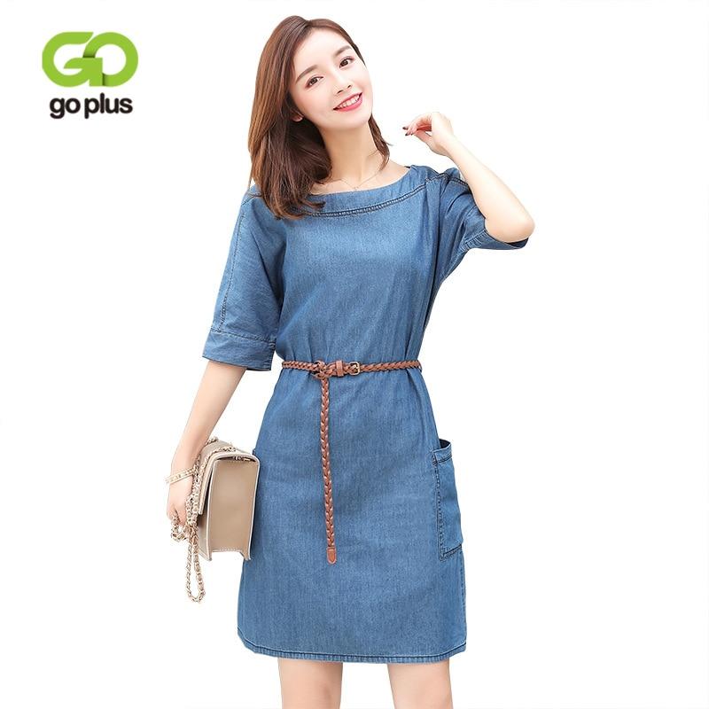 GOPLUS 2020 primavera moda Boho Denim Vestido Mujer ropa o-cuello fajas manga corta slim Beach vestido de talla grande Casual Vestidos