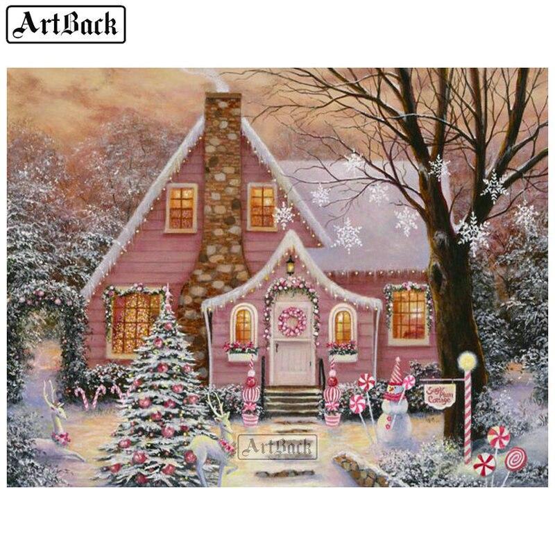 5d pintura de diamantes casa de nieve Cruz stitch pegatina completo cuadrado paisaje de mosaico de diamantes decoración del hogar 30x40cm