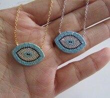 Nouveau authentique 925 argent sterling mauvais œil de luxe femmes mode cz bleu pierre argent collier