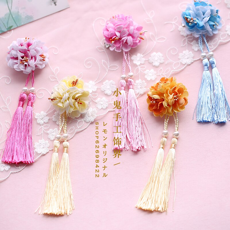 Retro antigo chinês hanfu acessórios para o cabelo pequeno fresco gradiente simulação flor fita de seda hairpin borla lolita grampo de cabelo