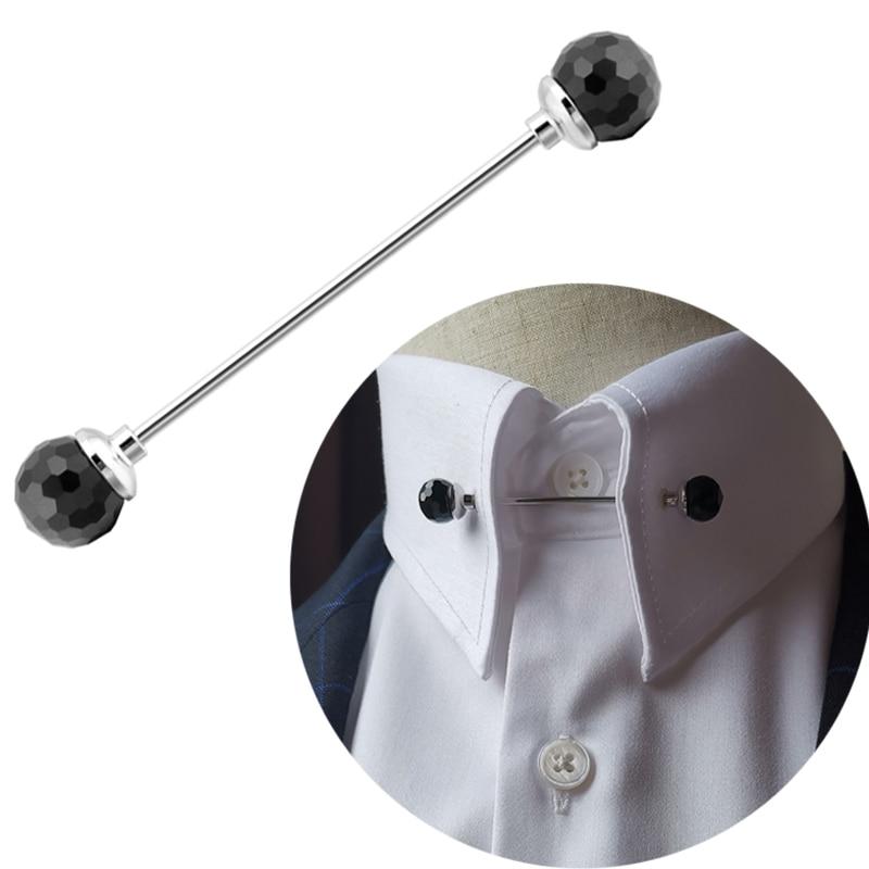 Collar de moda Pin camisa de moda para hombres redondo Multi-facetas bola de cristal agujero collares Pins accesorios de negocios regalo puede desenroscar