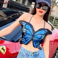 instahot women butterfly shape backless print camis top lace up sexy casual summer 2021 female cropped top slim streetwear camis